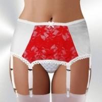 Strumpfhalter, Classic-Burlesque Stil, 6 Strapse, weiß-rot