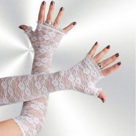 Lange Armstulpen aus Spitze, Weiß