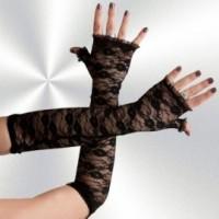 Lange Armstulpen aus Spitze, Schwarz