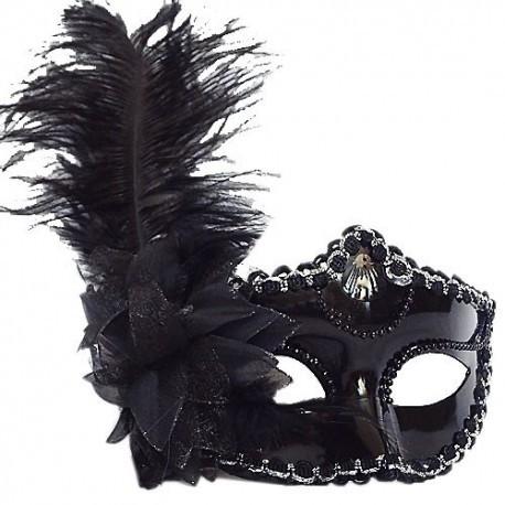 Venezianische Maske in Schwarz. Die Maske wird mit einem Satinband am Hinterkopf geknotet.